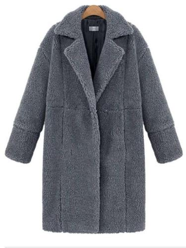Casual Loose Plush Lapel Long sleeve  Woollen Coats
