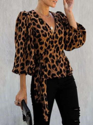 Fashion V neck Long sleeve Lacing Leopard print Blouses