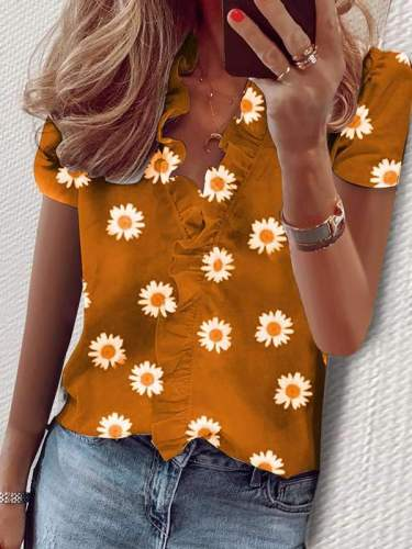 Summer flounce short sleeve Daisy printed v-neck shirt blouses