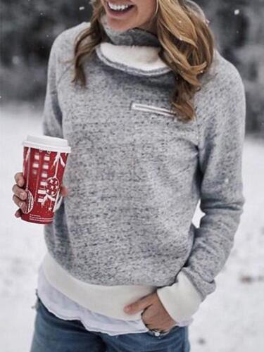Thick High Collar Zip Woman Long Sleeve Sweatshirt