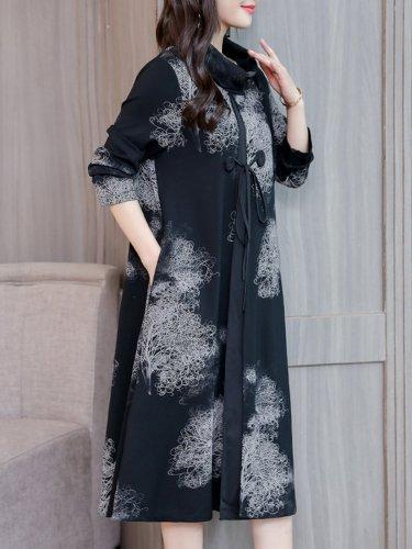 Elegant Cowl Neck Printed Long Sleeve Dress