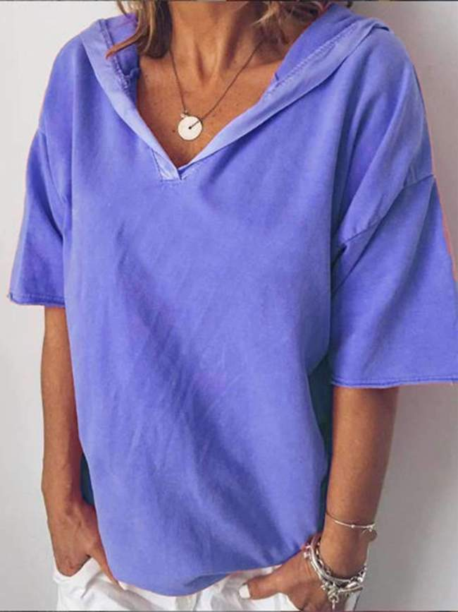 Casual V neck Short sleeve Hoodies T-Shirts