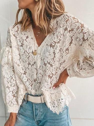 V Neck Long Sleeve Ruffles Lace Elegant Women Blouses