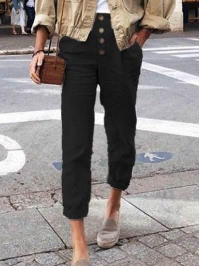 Women plain button fashion long pants