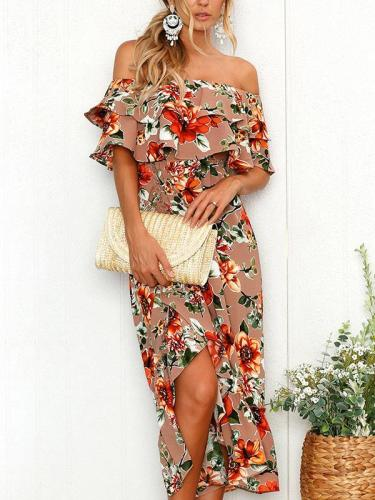 Off Shoulder Fashion Off Shoulder Printed Long Maxi Dresses