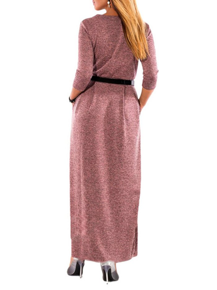 Button Up Long Sleeve Knitted Dress