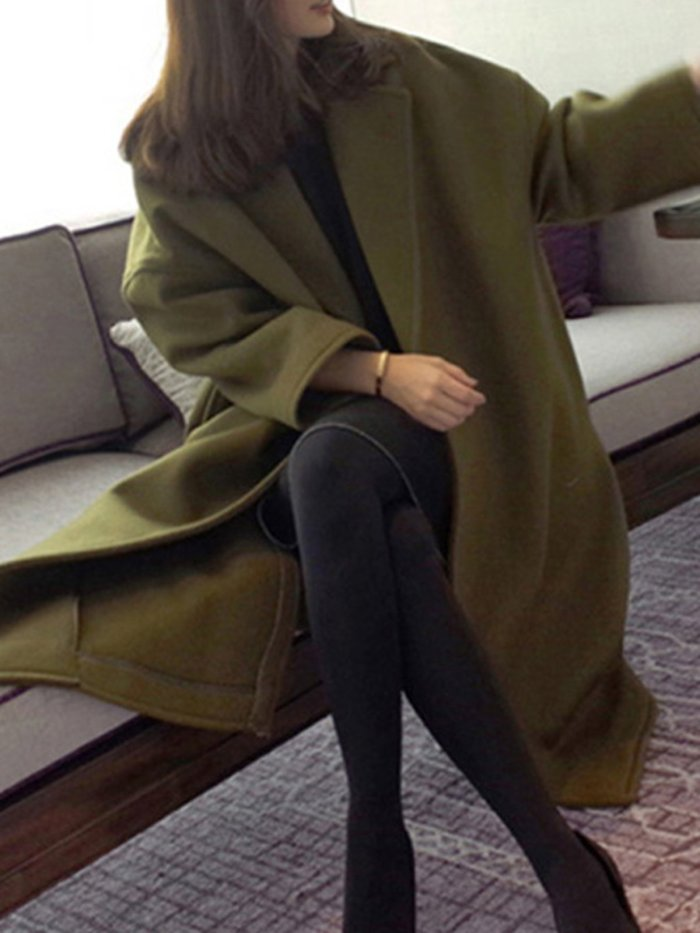 Army Green Solid Casual Plus Size Wool-blend Coat