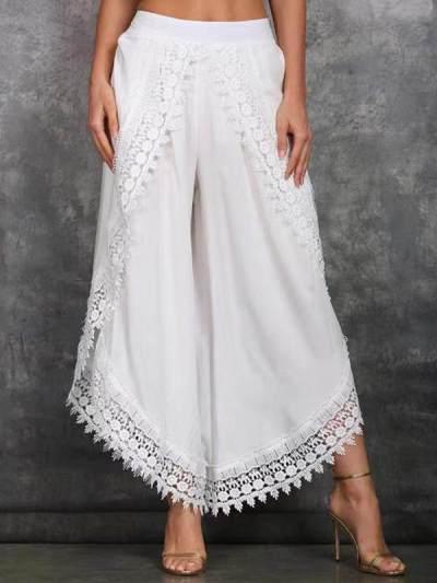 Lace harlem pants wide-leg pants for women
