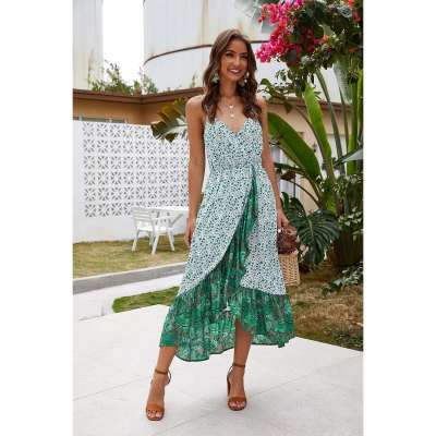 Fashion Print V neck Sleeveless Gored Vacation Dresses