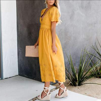 Fashion V neck Short sleeve Hollow Skater Dresses