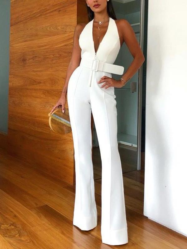 Sexy deep v-neck white with belt long jumpsuits