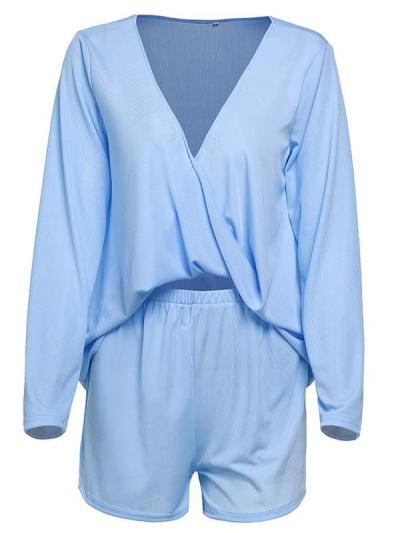 Women plain v neck long sleeve two pieces suit T-shirts