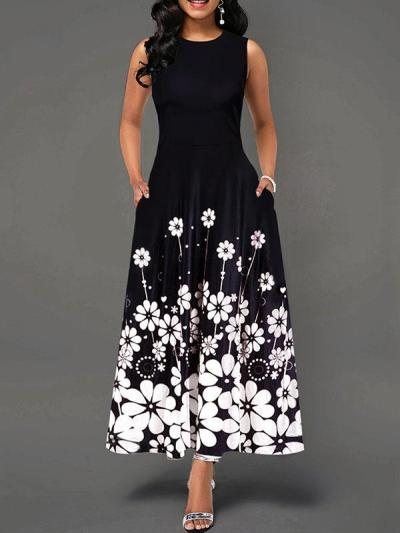 Casual Printed Floral Sleeveless Maxi Dresses