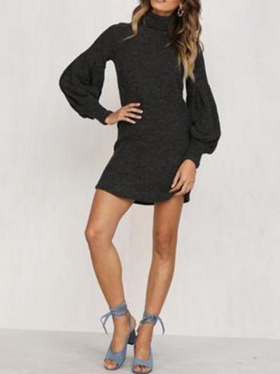Plain slim high collar lantern sleeves sweater dresses