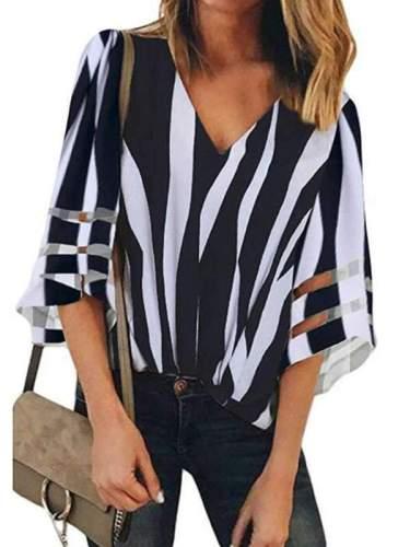 V-neck Mesh Fared Sleeve Stripe T-shirt