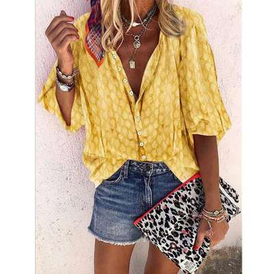 Turn Down Collar Printed Blue Blouses for Women