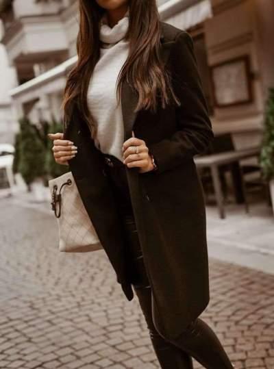 Fashion Pure Lapel Long sleeve Trench Coats