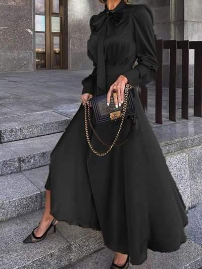 Elegant women fashion plain bowknot long evening dresses