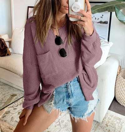 Fashion Casual Loose Pure V neck Long sleeve Knit Pocket T-Shirts