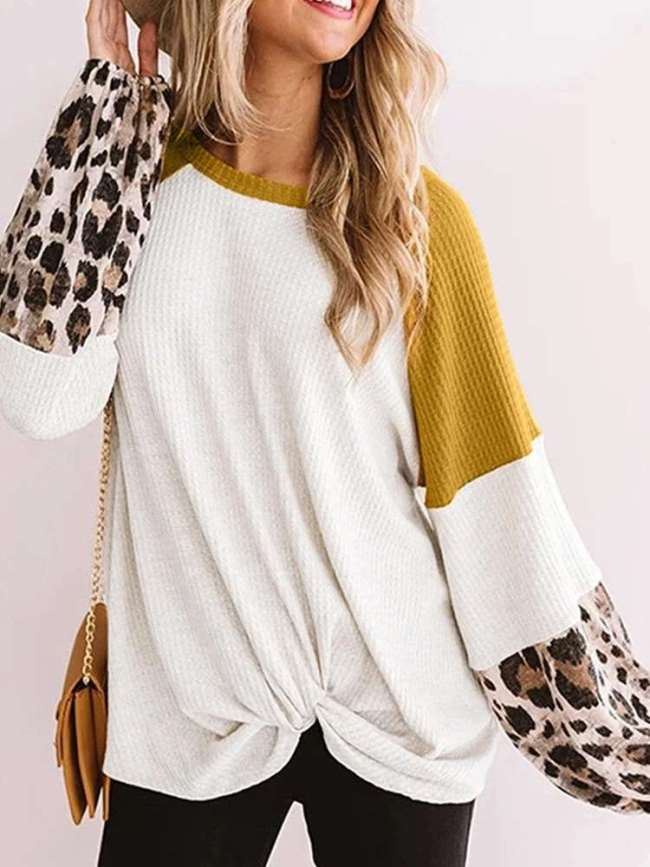 Casual Loose Print Gored Round neck Long sleeve Knit Sweaters