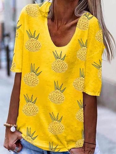Summer women Pineapple printed u neck short sleeve T-shirts