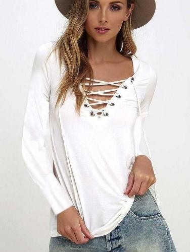 Fashion Pure V neck Long sleeve Lacing T-Shirts