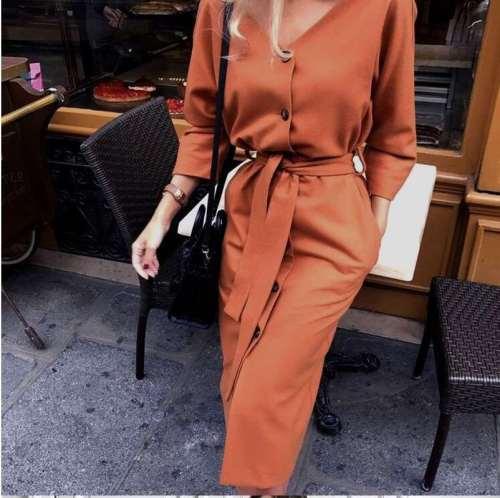 Fashion Pure V neck Long sleeve Fastener Lacing Bodycon Dresses