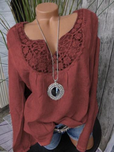 Long-sleeved V-neck Lace Patchwork Loose Blouse