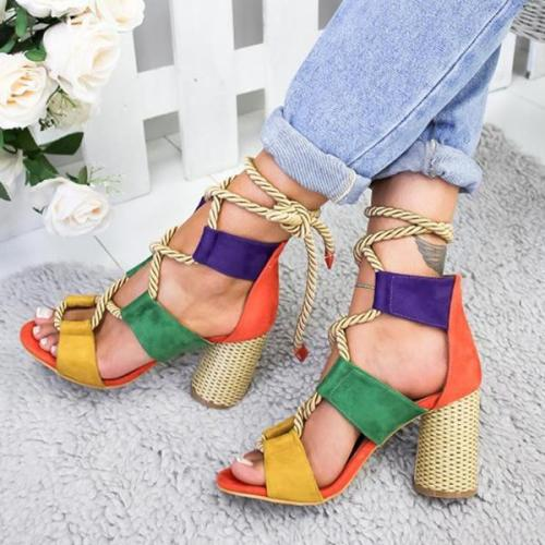 Chic women Match color thick heel high heel Pumps