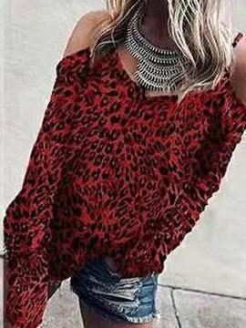 Fashion Leopard print Off shoulder Vest Long sleeve T-Shirts