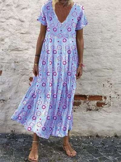 Casual Print V neck Short sleeve Gored Maxi Dresses