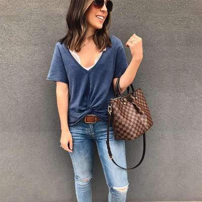Casual Pure V neck Short sleeve T-Shirts Knotted T-Shirts