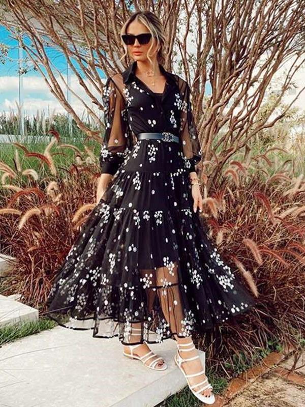 Fashion Sexy Print V neck Grenadine Long sleeve Maxi Dresses