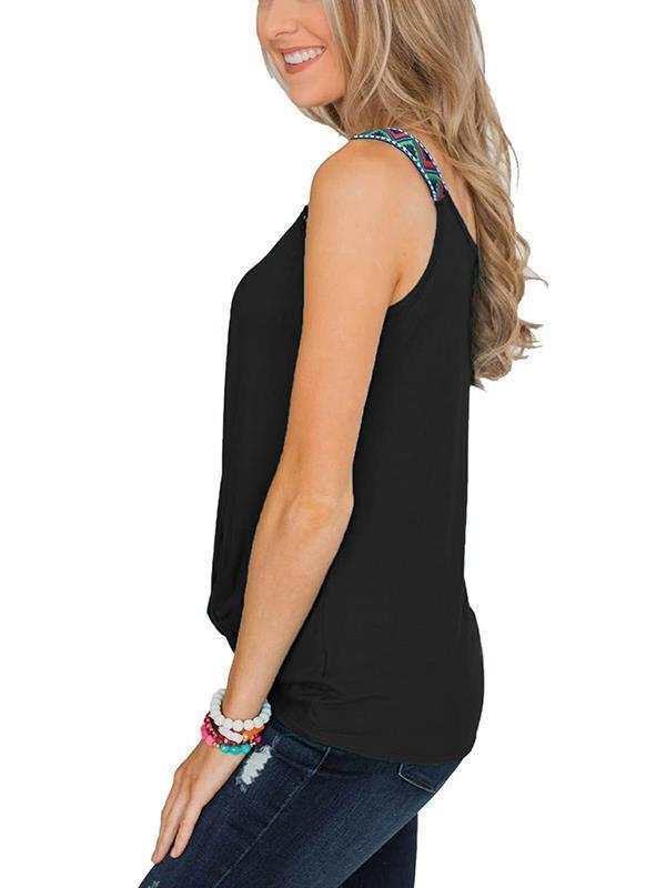 Women Bohemia Style Strap Plain Vests