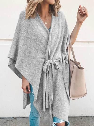 Women plain v neck tie design sweaters tape tops