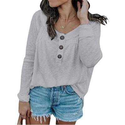 Fashion Pure Round neck Fastener Long sleeve T-Shirts