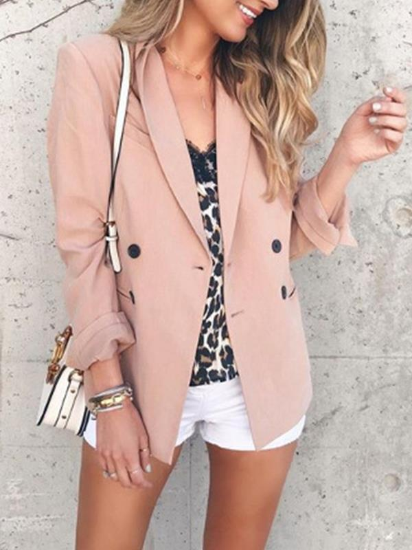 Fashion women turn down collar plain blazers