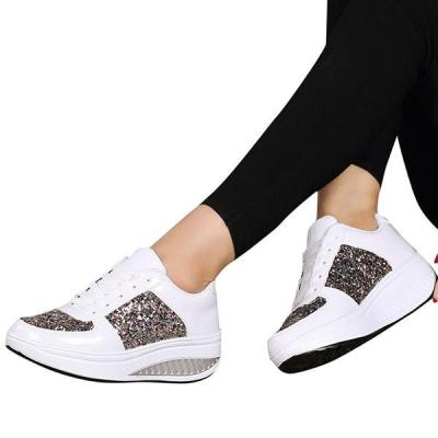 Women Sequined platform wedge shoes Sneakers