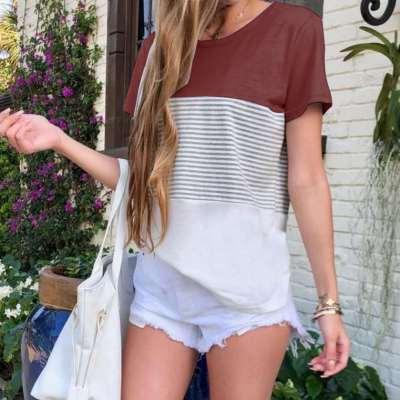Fashion Round neck Stripe Gored Short sleeve T-Shirts