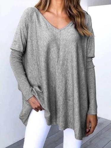 Fashion Loose V neck Raglan sleeve T-Shirts