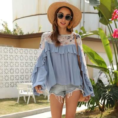 Fashion Gored Print  Falbala Long sleeve T-Shirts