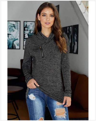 Fashion Pure Zipper Long sleeve High collar Sweatshirts
