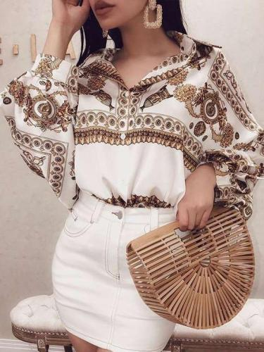 Loose Print Lapel Puff sleeve Blouses