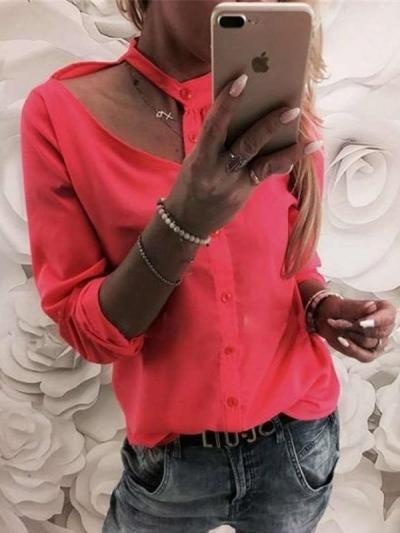 Fashion Sexy Pure Halter Long sleeve Blouses