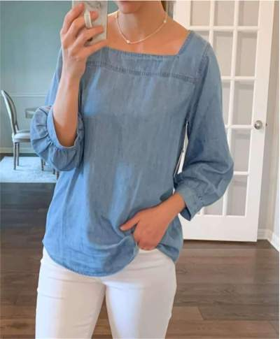 Fashion Casual Pure Square collar Long sleeve Jean T-Shirts