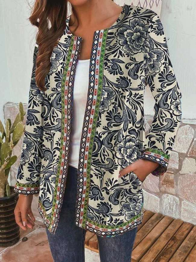 Fashion Casual Print Round neck Long sleeve Cardigan Coats