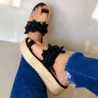 Flower peep toe lady's wedge flip-flops Sandals
