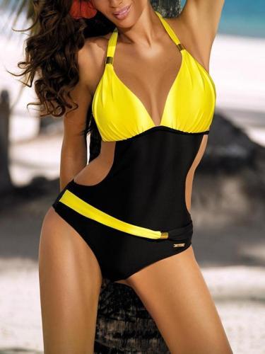 Fashion Summer with belt Color matching Swimwear