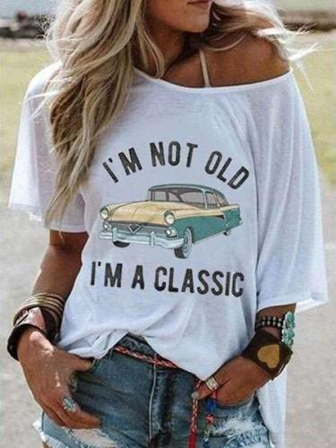 Casual Loose Print Round neck Short sleeve T-Shirts