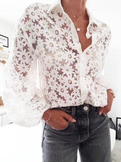 Women floarl printed white turn down long sleeve blouses